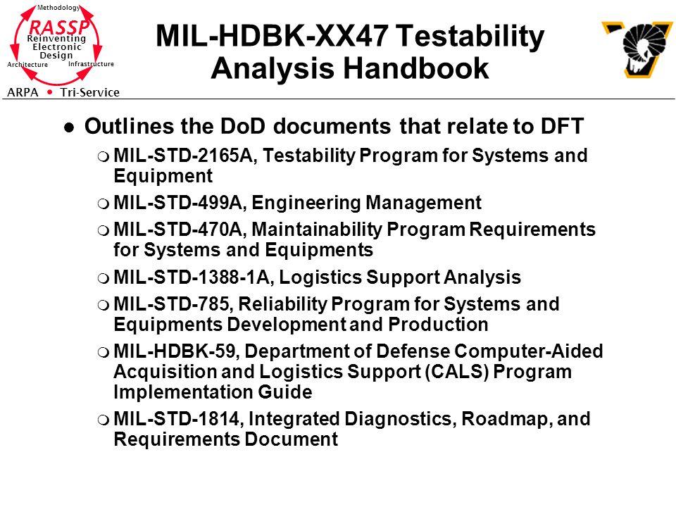 RASSP Reinventing Electronic Design Methodology Architecture Infrastructure ARPA Tri-Service MIL-HDBK-XX47 Testability Analysis Handbook l Outlines th