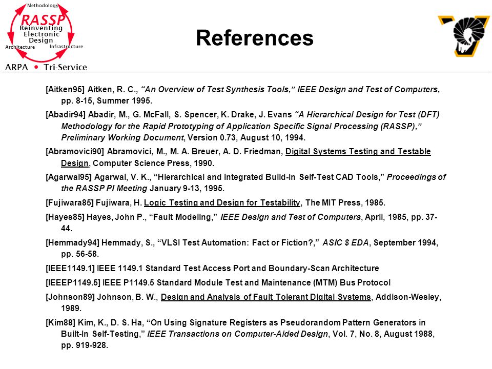 """RASSP Reinventing Electronic Design Methodology Architecture Infrastructure ARPA Tri-Service References [Aitken95] Aitken, R. C., """"An Overview of Test"""