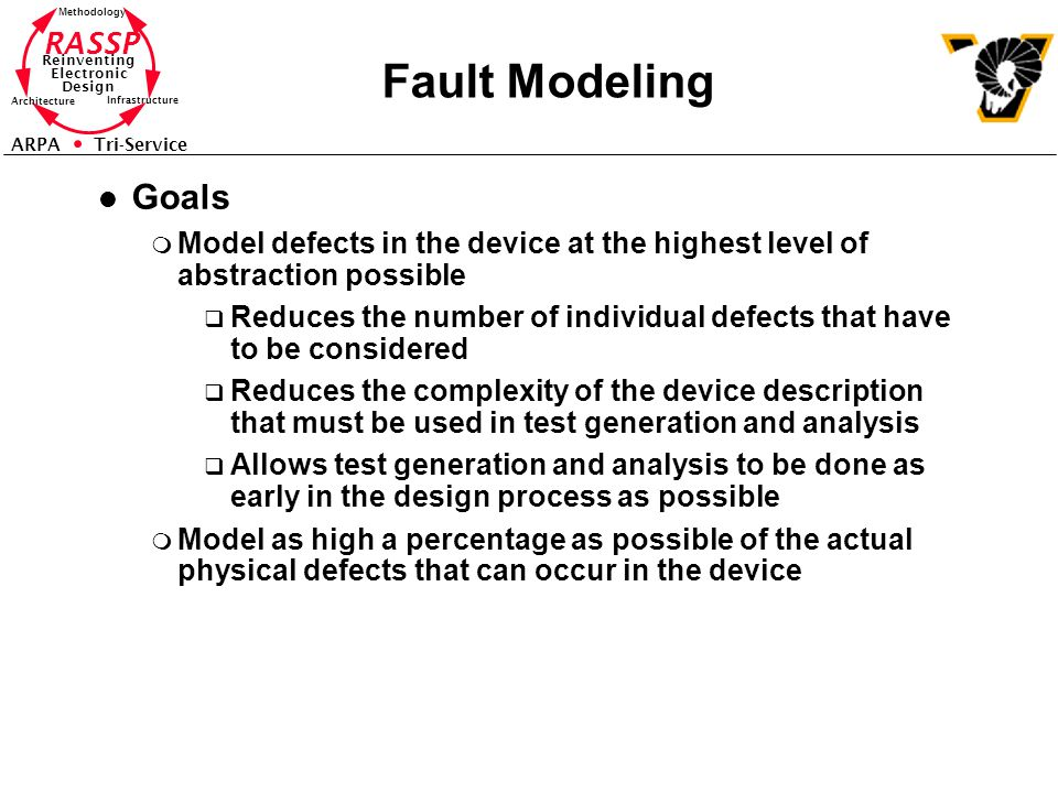 RASSP Reinventing Electronic Design Methodology Architecture Infrastructure ARPA Tri-Service Fault Modeling l Goals m Model defects in the device at t