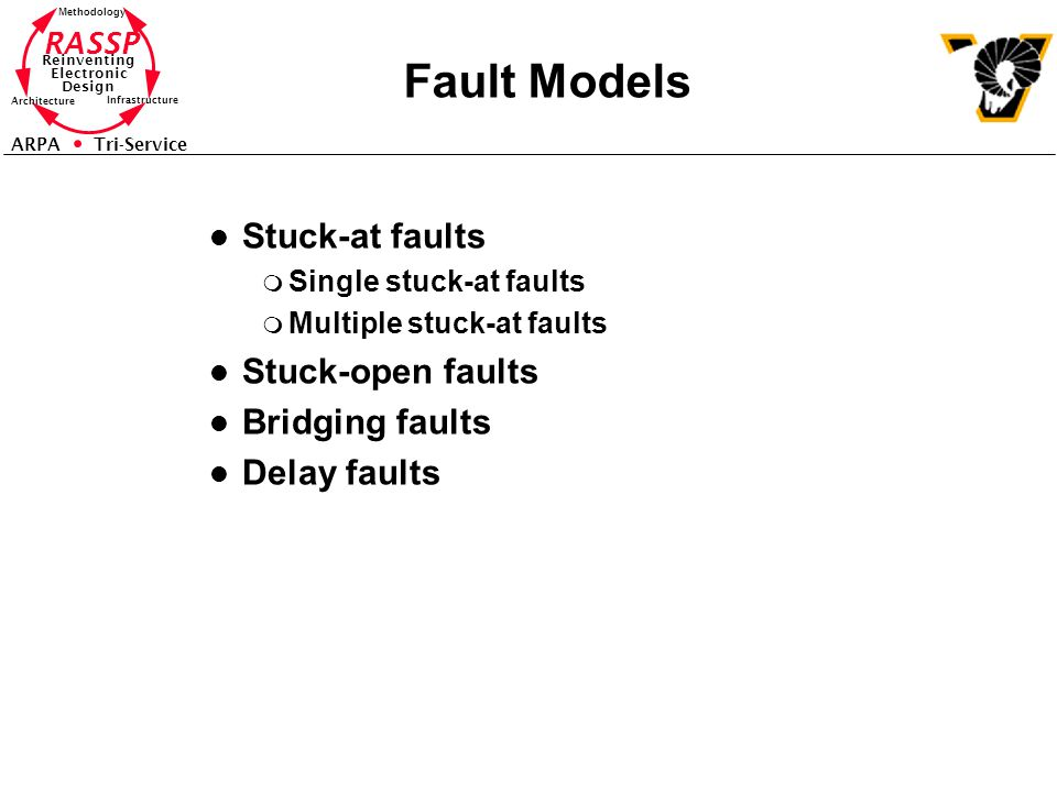 RASSP Reinventing Electronic Design Methodology Architecture Infrastructure ARPA Tri-Service Fault Models l Stuck-at faults m Single stuck-at faults m