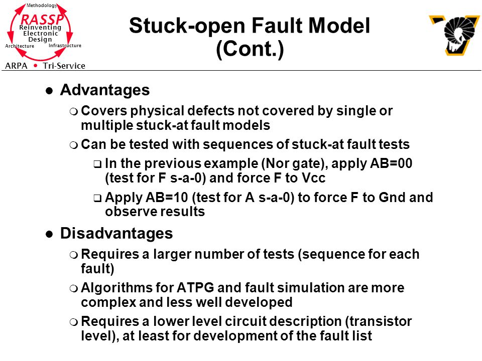RASSP Reinventing Electronic Design Methodology Architecture Infrastructure ARPA Tri-Service Stuck-open Fault Model (Cont.) l Advantages m Covers physical defects not covered by single or multiple stuck-at fault models m Can be tested with sequences of stuck-at fault tests q In the previous example (Nor gate), apply AB=00 (test for F s-a-0) and force F to Vcc q Apply AB=10 (test for A s-a-0) to force F to Gnd and observe results l Disadvantages m Requires a larger number of tests (sequence for each fault) m Algorithms for ATPG and fault simulation are more complex and less well developed m Requires a lower level circuit description (transistor level), at least for development of the fault list