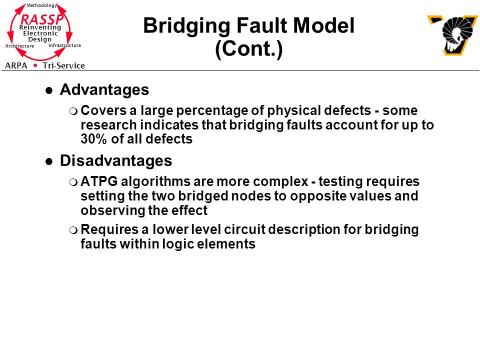 RASSP Reinventing Electronic Design Methodology Architecture Infrastructure ARPA Tri-Service Bridging Fault Model (Cont.) l Advantages m Covers a large percentage of physical defects - some research indicates that bridging faults account for up to 30% of all defects l Disadvantages m ATPG algorithms are more complex - testing requires setting the two bridged nodes to opposite values and observing the effect m Requires a lower level circuit description for bridging faults within logic elements