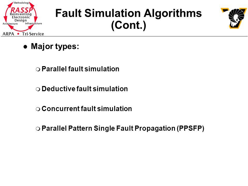 RASSP Reinventing Electronic Design Methodology Architecture Infrastructure ARPA Tri-Service Fault Simulation Algorithms (Cont.) l Major types: m Para