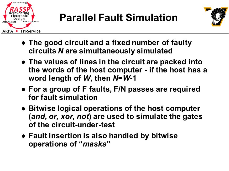 RASSP Reinventing Electronic Design Methodology Architecture Infrastructure ARPA Tri-Service Parallel Fault Simulation l The good circuit and a fixed