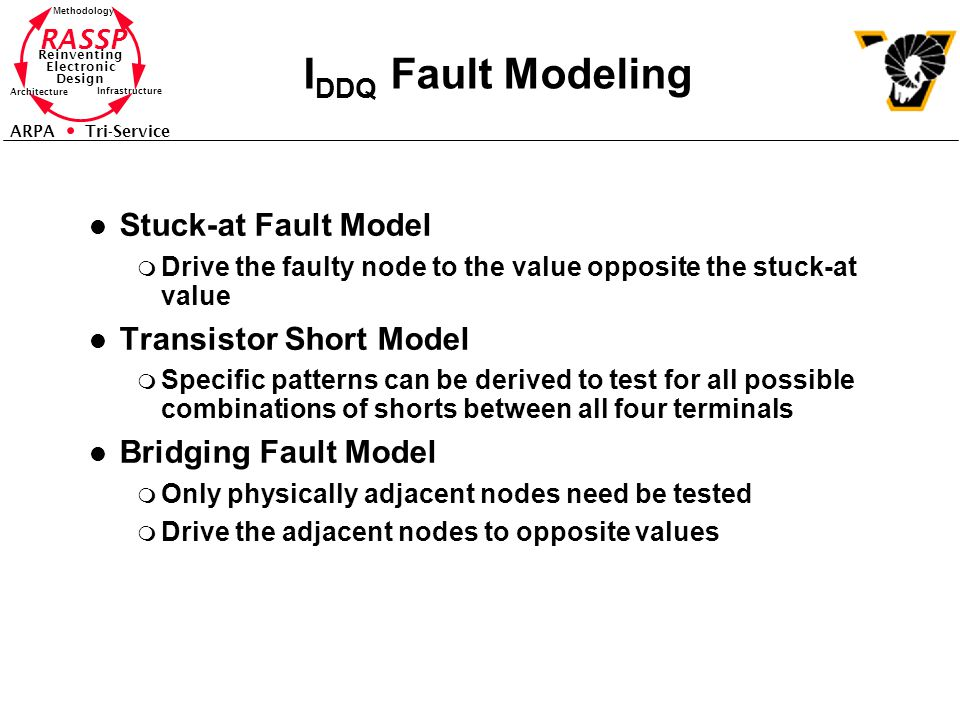 RASSP Reinventing Electronic Design Methodology Architecture Infrastructure ARPA Tri-Service I DDQ Fault Modeling l Stuck-at Fault Model m Drive the faulty node to the value opposite the stuck-at value l Transistor Short Model m Specific patterns can be derived to test for all possible combinations of shorts between all four terminals l Bridging Fault Model m Only physically adjacent nodes need be tested m Drive the adjacent nodes to opposite values
