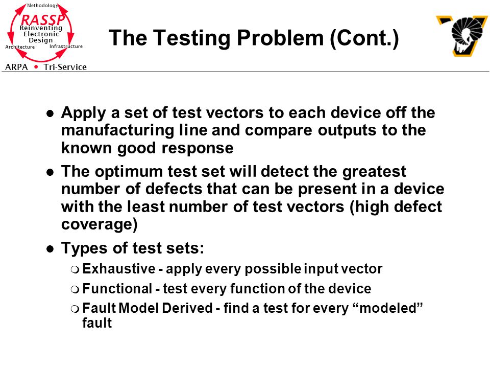 RASSP Reinventing Electronic Design Methodology Architecture Infrastructure ARPA Tri-Service The Testing Problem (Cont.) l Apply a set of test vectors