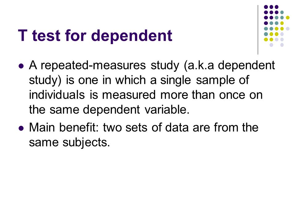 Excel: TTEST function TTEST (array1, array2, tails, type) array1 = the cell address for the first set of data array2 = the cell address for the second set of data tails: 1 = one-tailed, 2 = two-tailed type: 1 = a paired t test; 2 = a two-sample test (independent with equal variances); 3 = a two- sample test with unequal variances