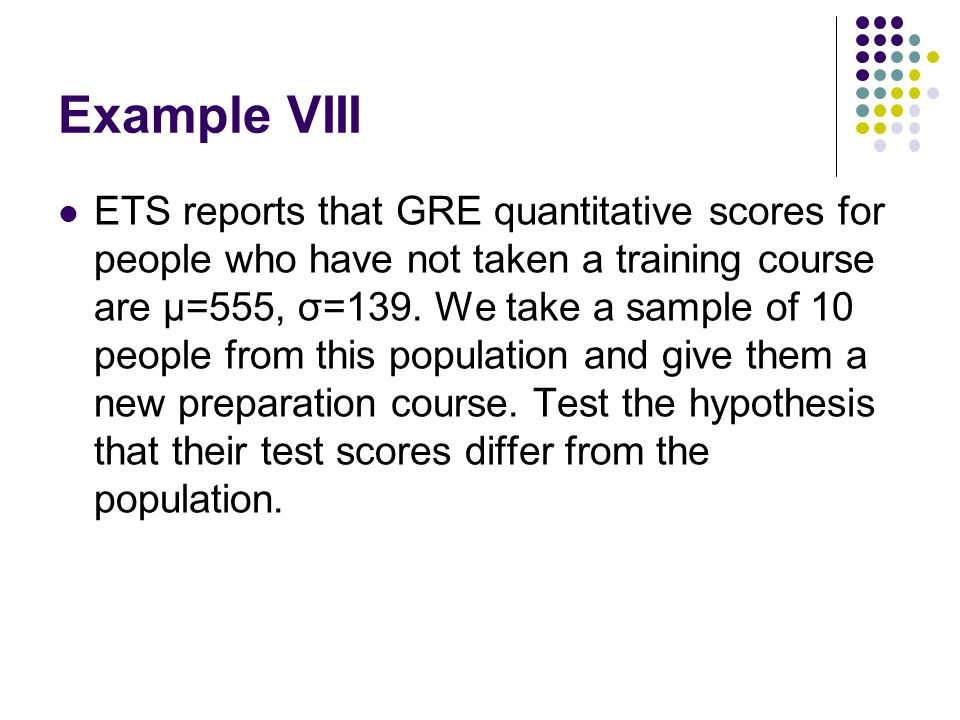 Example VIII ETS reports that GRE quantitative scores for people who have not taken a training course are μ=555, σ=139.
