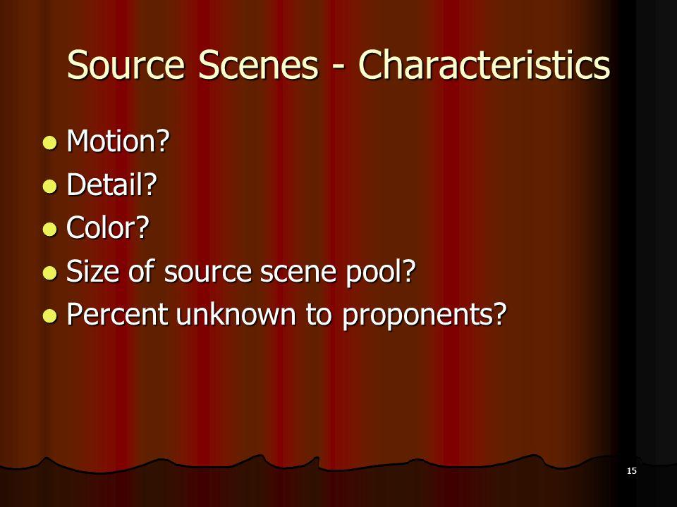 15 Source Scenes - Characteristics Motion. Motion.