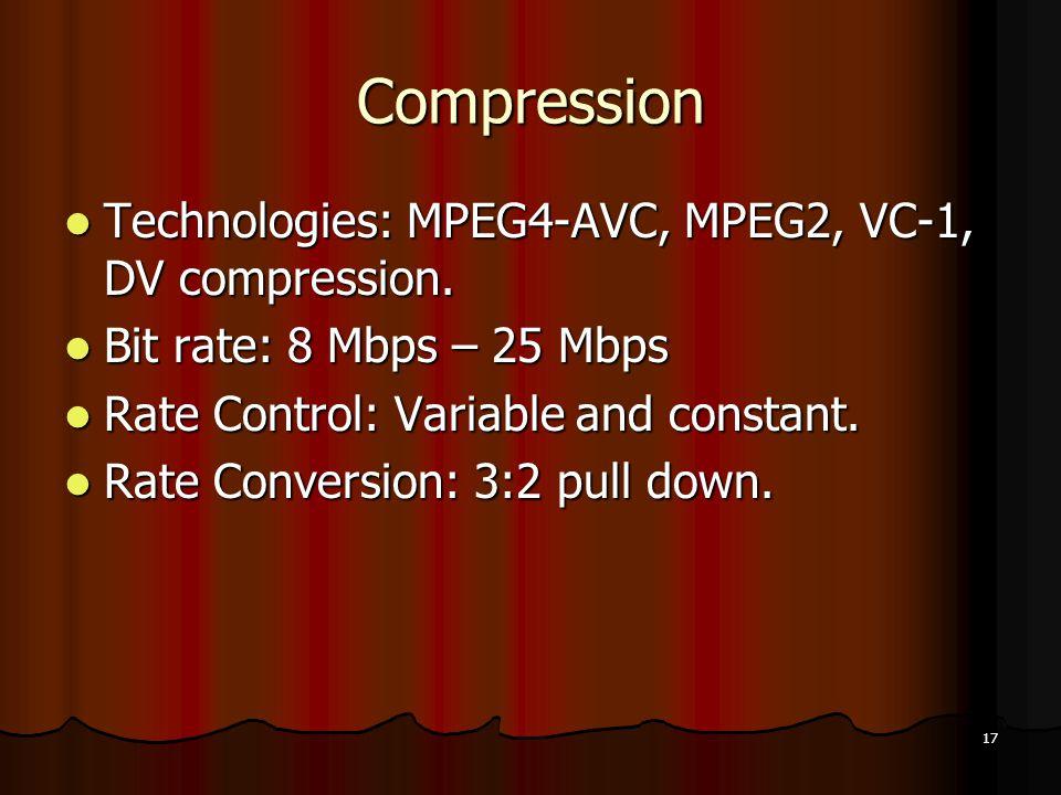 17 Compression Technologies: MPEG4-AVC, MPEG2, VC-1, DV compression.
