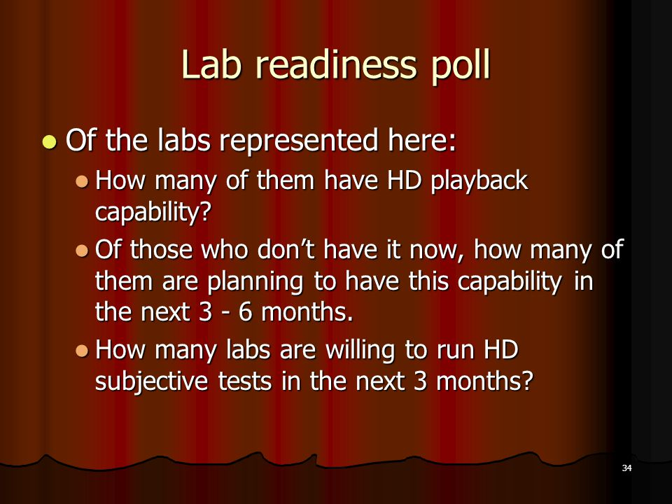 34 Lab readiness poll Of the labs represented here: Of the labs represented here: How many of them have HD playback capability.