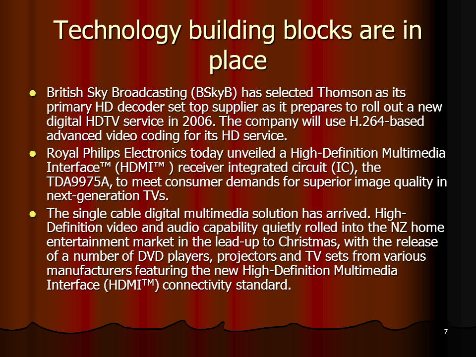 18 Transmission Technologies: Satellite, Cable, IP Technologies: Satellite, Cable, IP Packet loss: 0-25% Packet loss: 0-25%