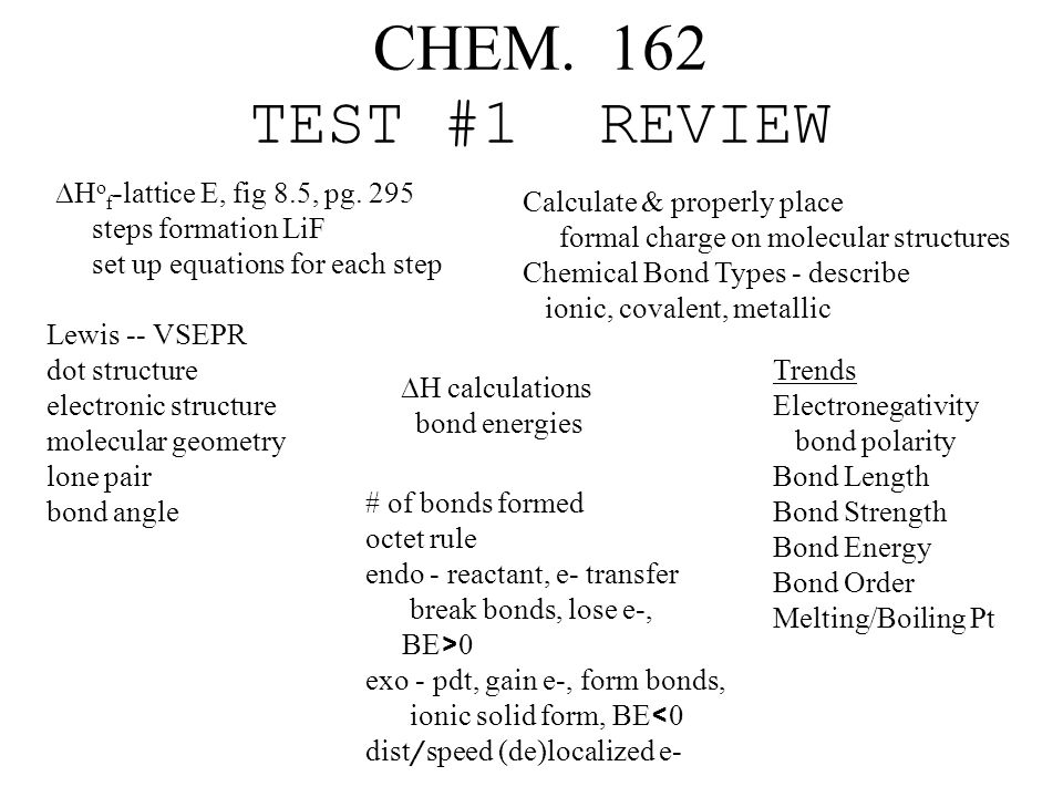 CHEM. 162 TEST #1 REVIEW  H o f -lattice E, fig 8.5, pg.