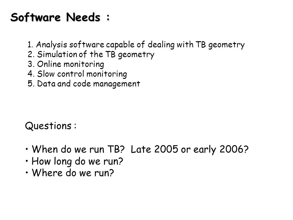 Towards a TestBeam Document : Goal is to have a document that addresses many of the issues mentioned here as well as others for discussion/comment at the UTA LC workshop in January, 2003.