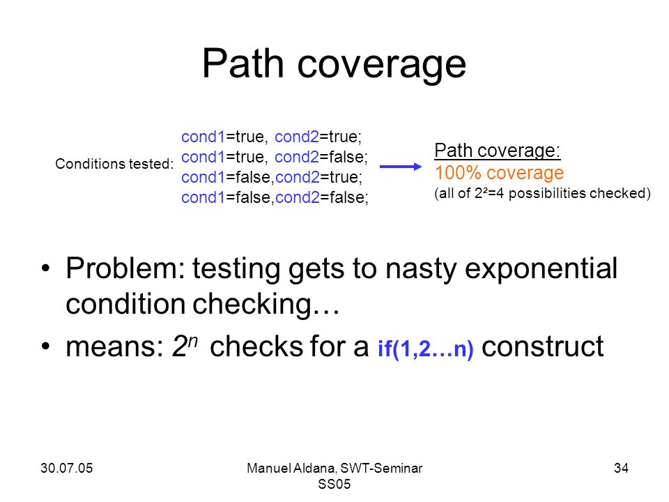 30.07.05Manuel Aldana, SWT-Seminar SS05 34 Path coverage Problem: testing gets to nasty exponential condition checking… means: 2 n checks for a if(1,2