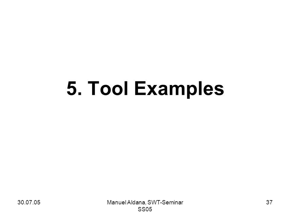 30.07.05Manuel Aldana, SWT-Seminar SS05 37 5. Tool Examples