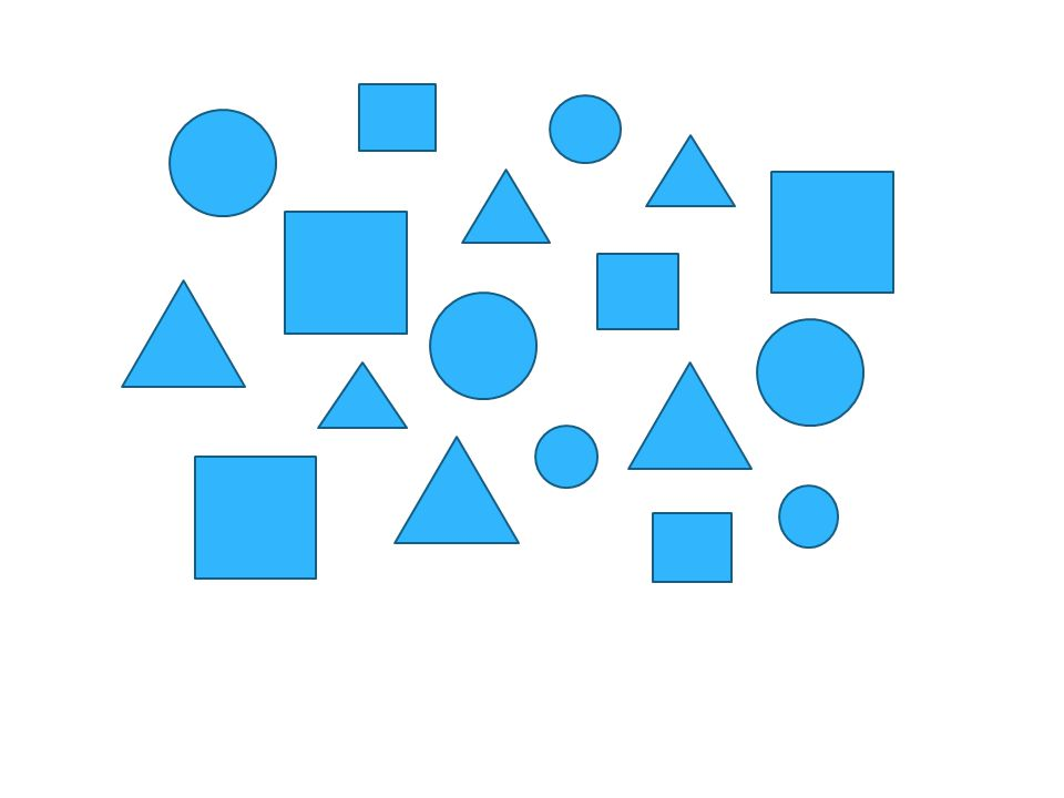 Draw the objects that you just saw in the same pattern as they appeared on the screen..