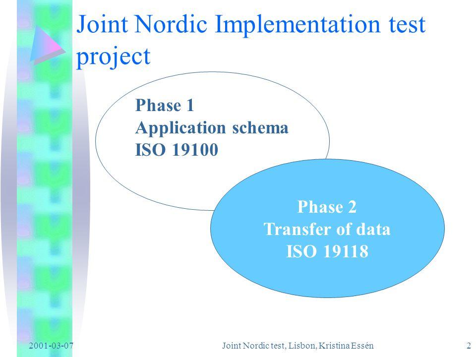 2001-03-07 Joint Nordic test, Lisbon, Kristina Essén1 Joint Nordic Implementation test project Denmark Finland Iceland Norway Sweden http://www.statkart.no/standard/jnip/