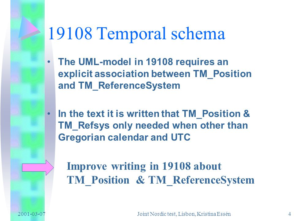 2001-03-07Joint Nordic test, Lisbon, Kristina Essén 3 19108 Temporal schema 19109 states that 19108 shall be used for temporal attributes 19103 defines basic datatypes - e.g.