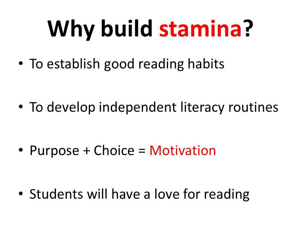 Increasing Stamina Tests are long.