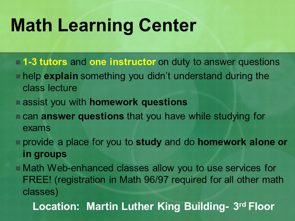 Writing & Reading Center 2-3 English instructors on duty who are available to all students to answer any specific writing or reading-related questions (Available 5-15 mins per student).