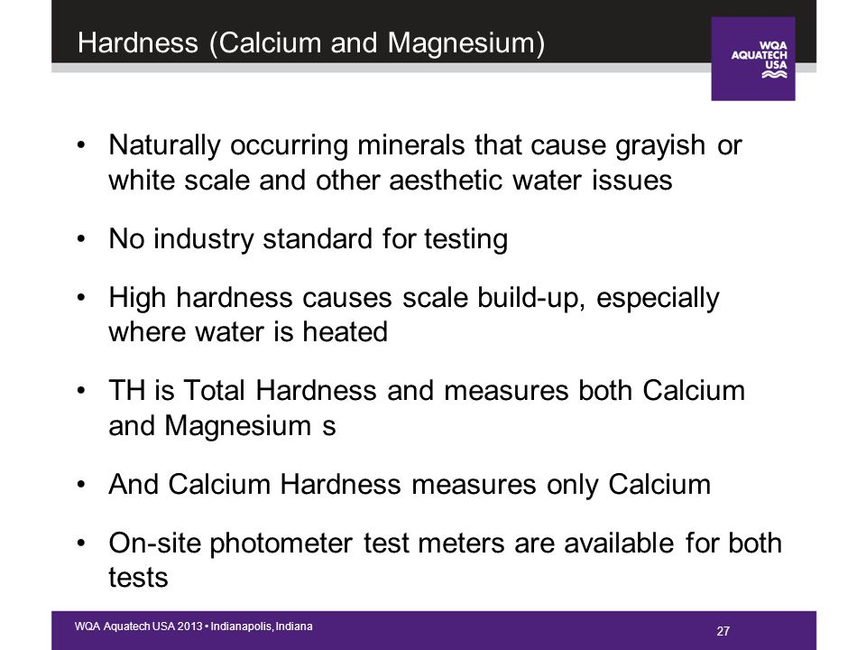 27 WQA Aquatech USA 2013 Indianapolis, Indiana Hardness (Calcium and Magnesium) Naturally occurring minerals that cause grayish or white scale and other aesthetic water issues No industry standard for testing High hardness causes scale build-up, especially where water is heated TH is Total Hardness and measures both Calcium and Magnesium s And Calcium Hardness measures only Calcium On-site photometer test meters are available for both tests 27