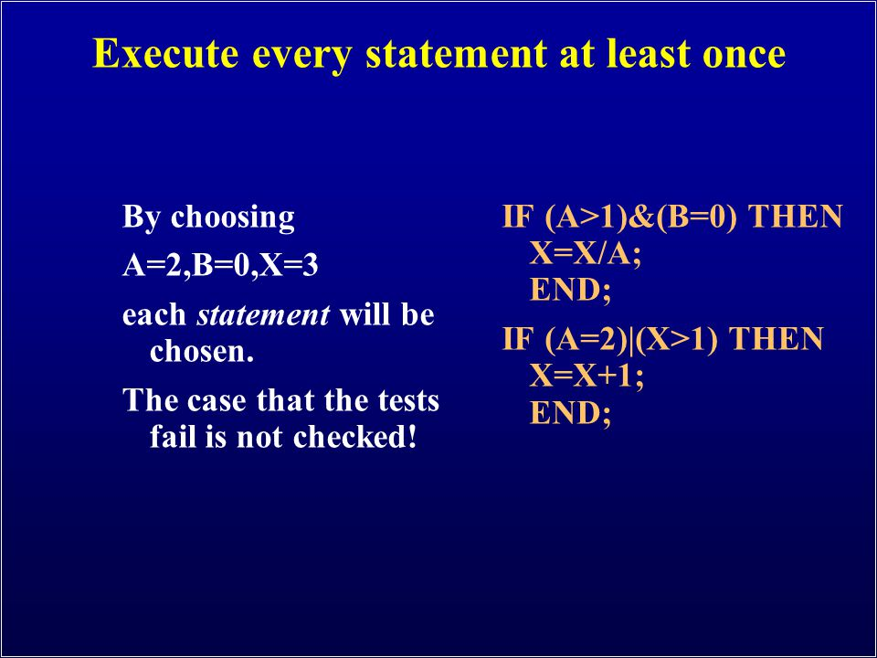 Execute every statement at least once By choosing A=2,B=0,X=3 each statement will be chosen. The case that the tests fail is not checked! IF (A>1)&(B=