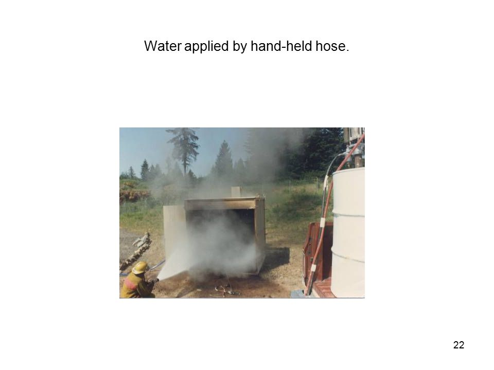 22 Water applied by hand-held hose.