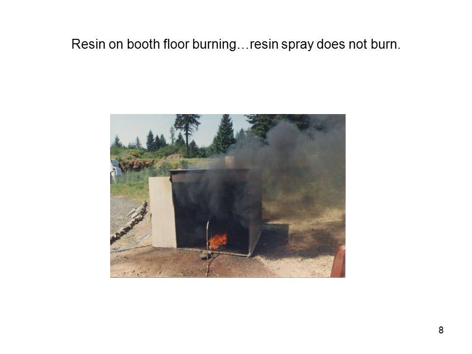 8 Resin on booth floor burning…resin spray does not burn.