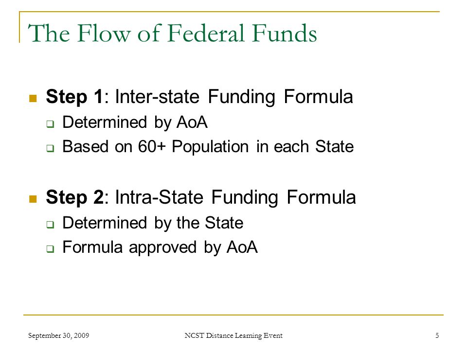 September 30, 2009 NCST Distance Learning Event 5 The Flow of Federal Funds Step 1: Inter-state Funding Formula  Determined by AoA  Based on 60+ Population in each State Step 2: Intra-State Funding Formula  Determined by the State  Formula approved by AoA