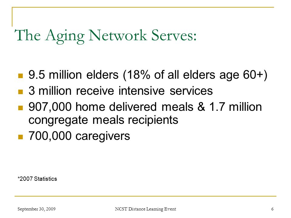 September 30, 2009 NCST Distance Learning Event 6 The Aging Network Serves: 9.5 million elders (18% of all elders age 60+) 3 million receive intensive services 907,000 home delivered meals & 1.7 million congregate meals recipients 700,000 caregivers *2007 Statistics