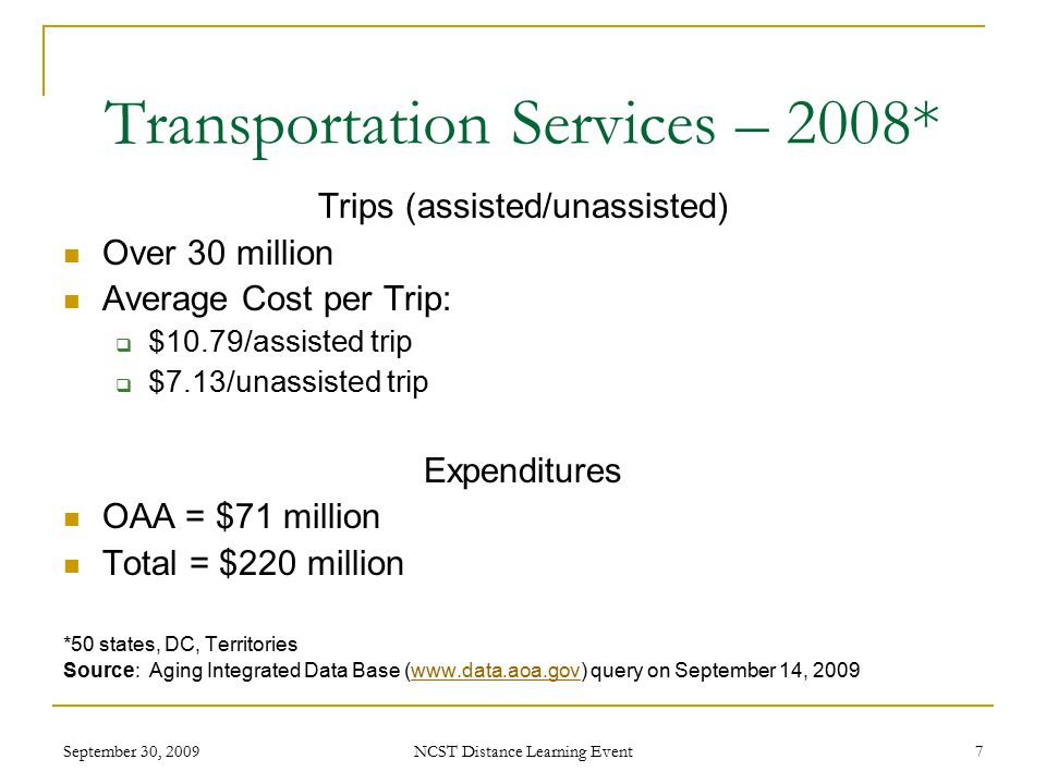 September 30, 2009 NCST Distance Learning Event 7 Transportation Services – 2008* Trips (assisted/unassisted) Over 30 million Average Cost per Trip:  $10.79/assisted trip  $7.13/unassisted trip Expenditures OAA = $71 million Total = $220 million *50 states, DC, Territories Source: Aging Integrated Data Base (www.data.aoa.gov) query on September 14, 2009www.data.aoa.gov