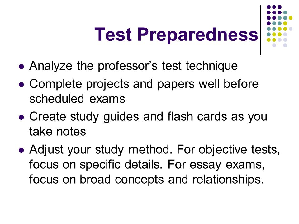 Types of Tests Open book Computation Essay Short answer Fill in the blank True-false (objective) Multiple choice (objective)