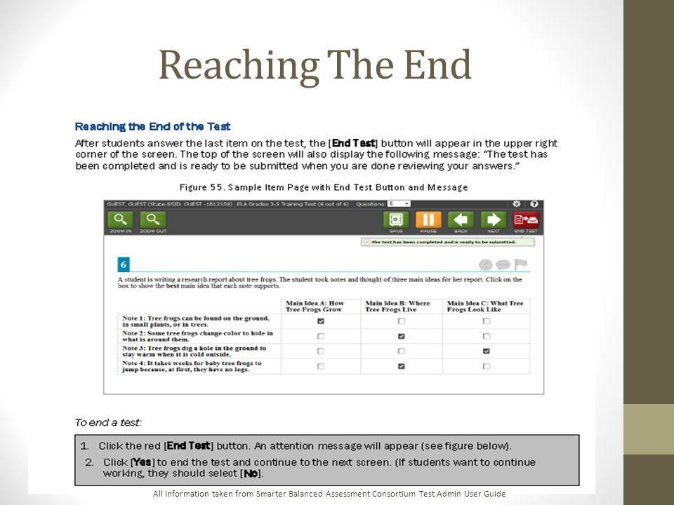 Reaching The End All information taken from Smarter Balanced Assessment Consortium Test Admin User Guide