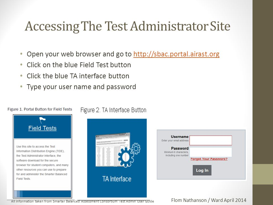 Accessing The Test Administrator Site Open your web browser and go to http://sbac.portal.airast.orghttp://sbac.portal.airast.org Click on the blue Field Test button Click the blue TA interface button Type your user name and password All information taken from Smarter Balanced Assessment Consortium Test Admin User Guide Flom Nathanson / Ward April 2014