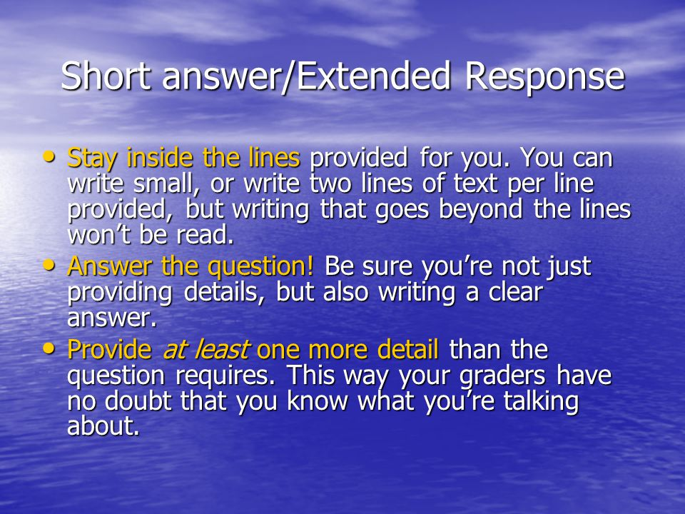 Short answer/Extended Response Stay inside the lines provided for you.