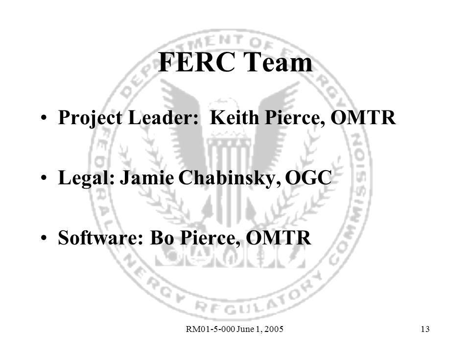 RM01-5-000 June 1, 200513 FERC Team Project Leader: Keith Pierce, OMTR Legal: Jamie Chabinsky, OGC Software: Bo Pierce, OMTR