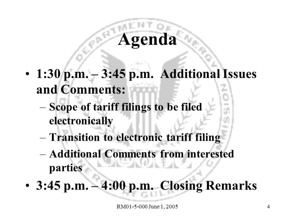 RM01-5-000 June 1, 20054 Agenda 1:30 p.m.– 3:45 p.m.