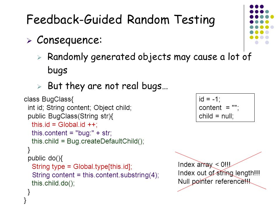 13 Feedback-Guided Random Testing  Consequence:  Randomly generated objects may cause a lot of bugs  But they are not real bugs… class BugClass{ in