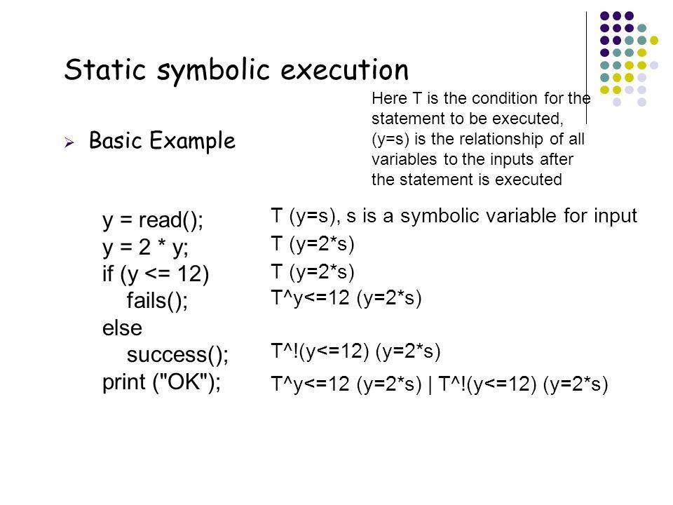 39 Static symbolic execution  Basic Example y = read(); y = 2 * y; if (y <= 12) fails(); else success(); print (