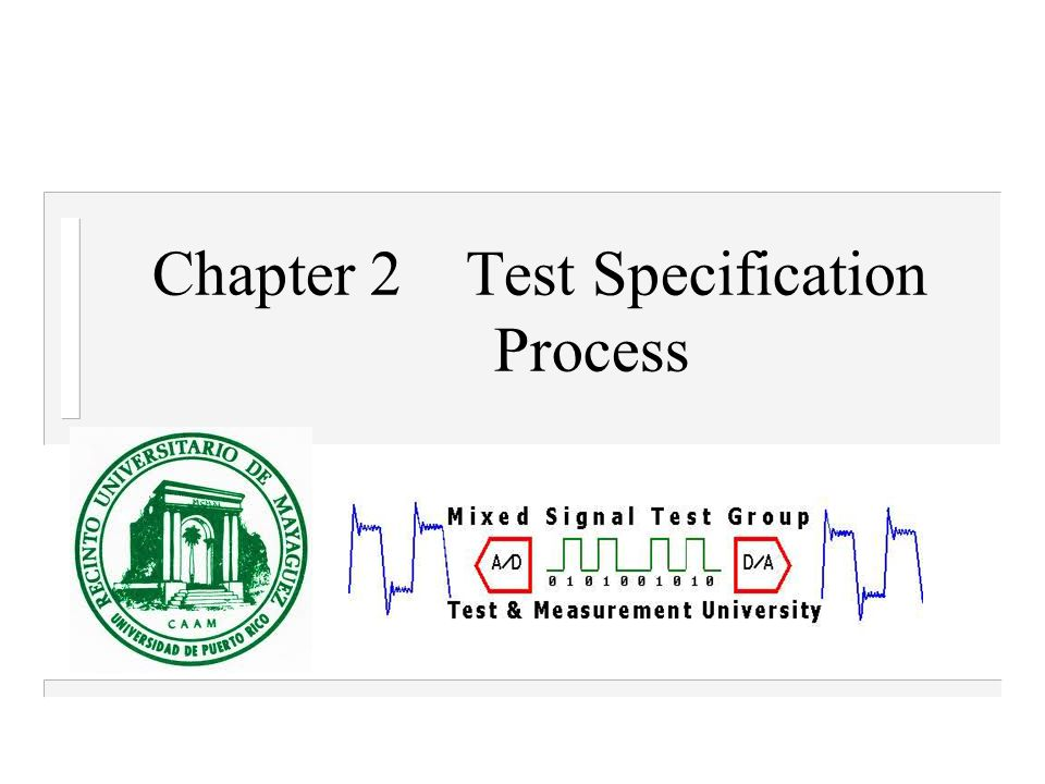 Chapter 2Test Specification Process