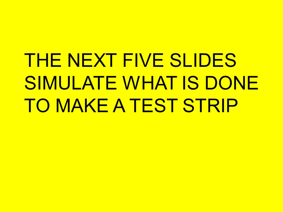 THE NEXT FIVE SLIDES SIMULATE WHAT IS DONE TO MAKE A TEST STRIP
