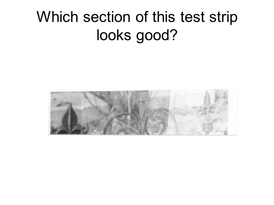 Which section of this test strip looks good?