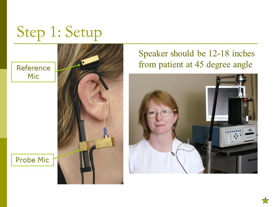 Reference Mic Step 1: Setup Speaker should be 12-18 inches from patient at 45 degree angle Probe Mic