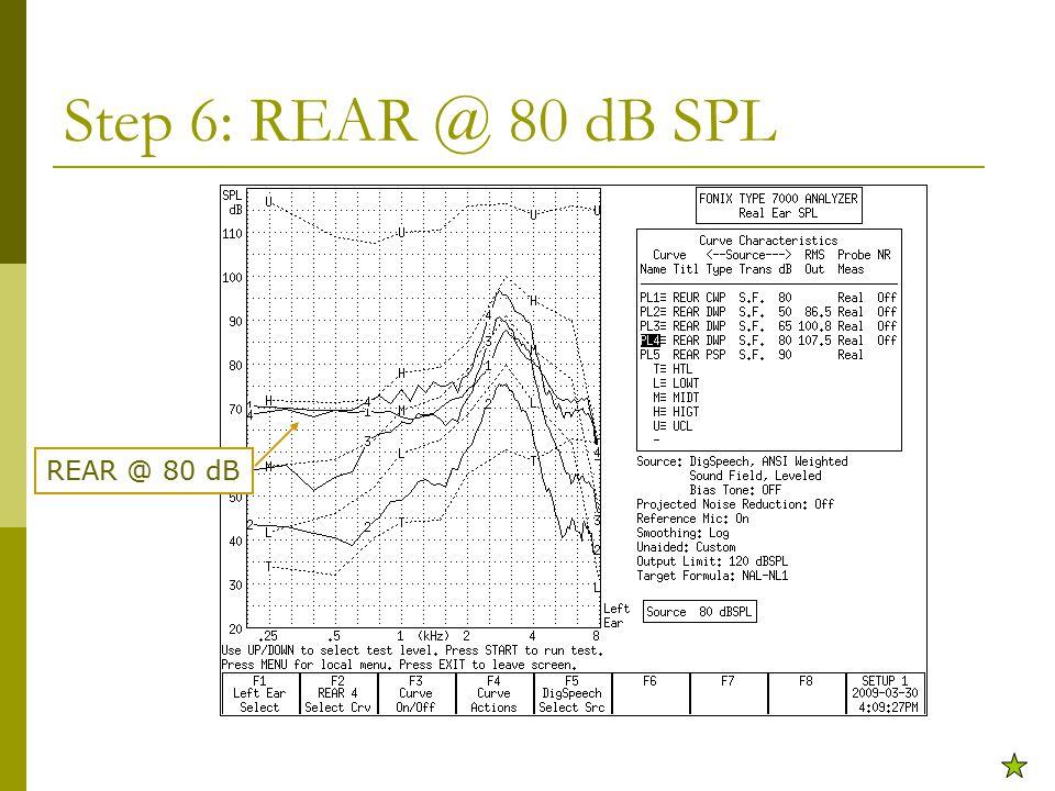 Step 6: REAR @ 80 dB SPL REAR @ 80 dB