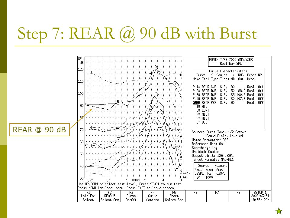 Step 7: REAR @ 90 dB with Burst REAR @ 90 dB