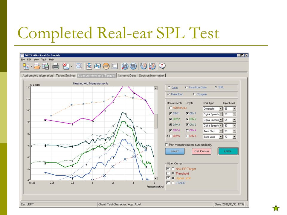 Completed Real-ear SPL Test
