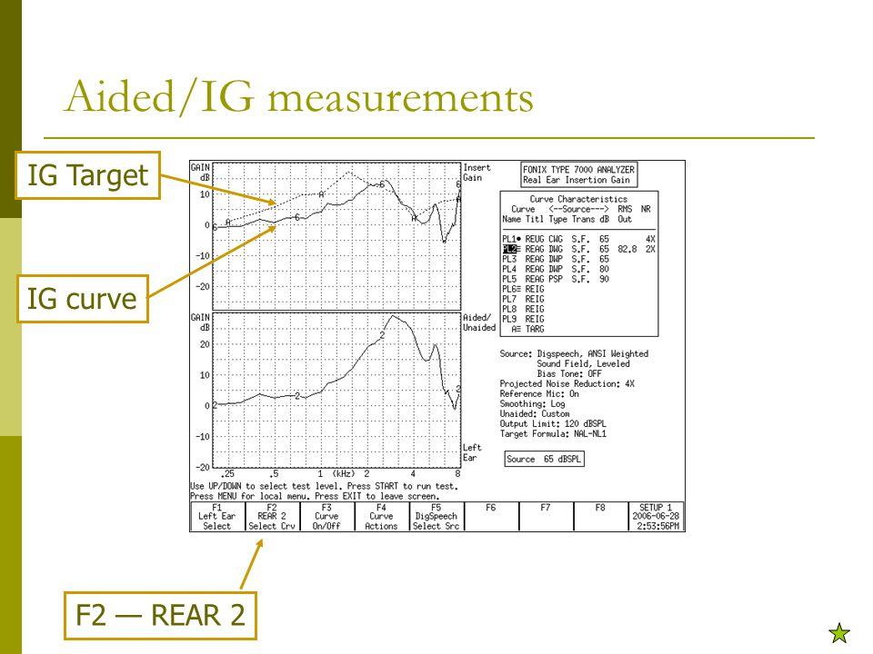 Aided/IG measurements F2 — REAR 2 IG Target IG curve
