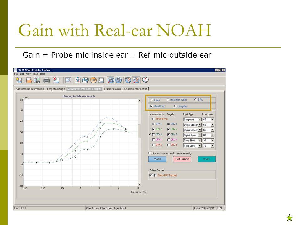 Gain with Real-ear NOAH Gain = Probe mic inside ear – Ref mic outside ear