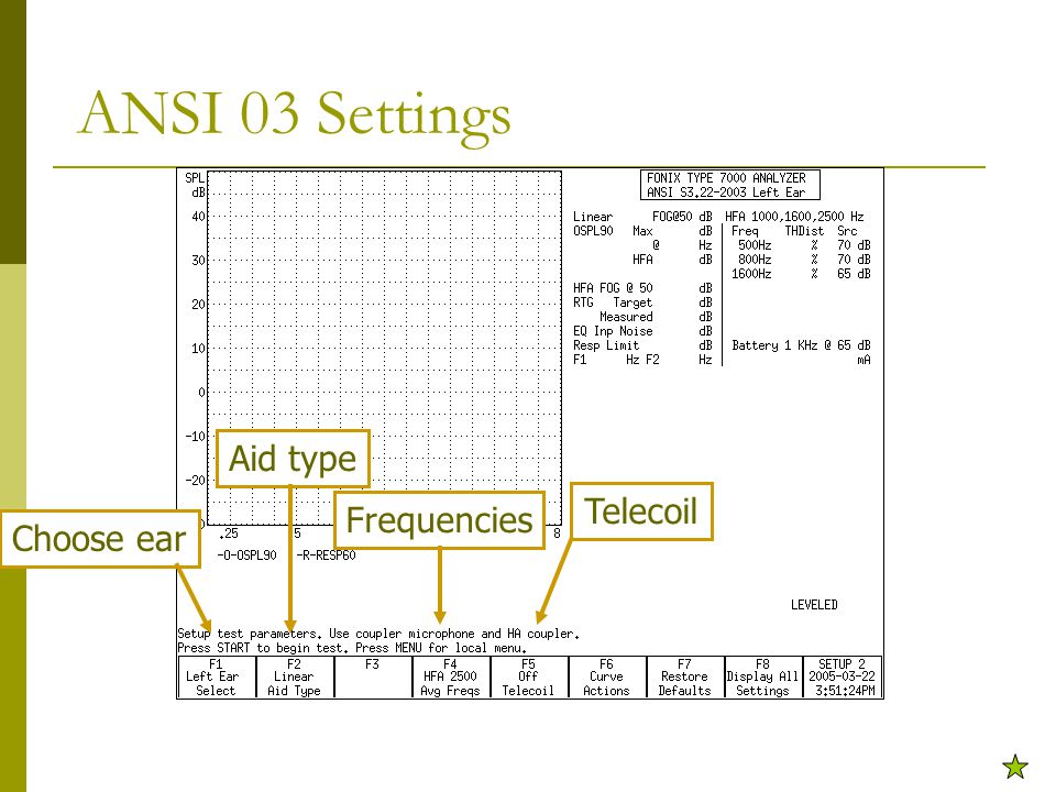 ANSI 03 Settings Choose ear Aid type Frequencies Telecoil